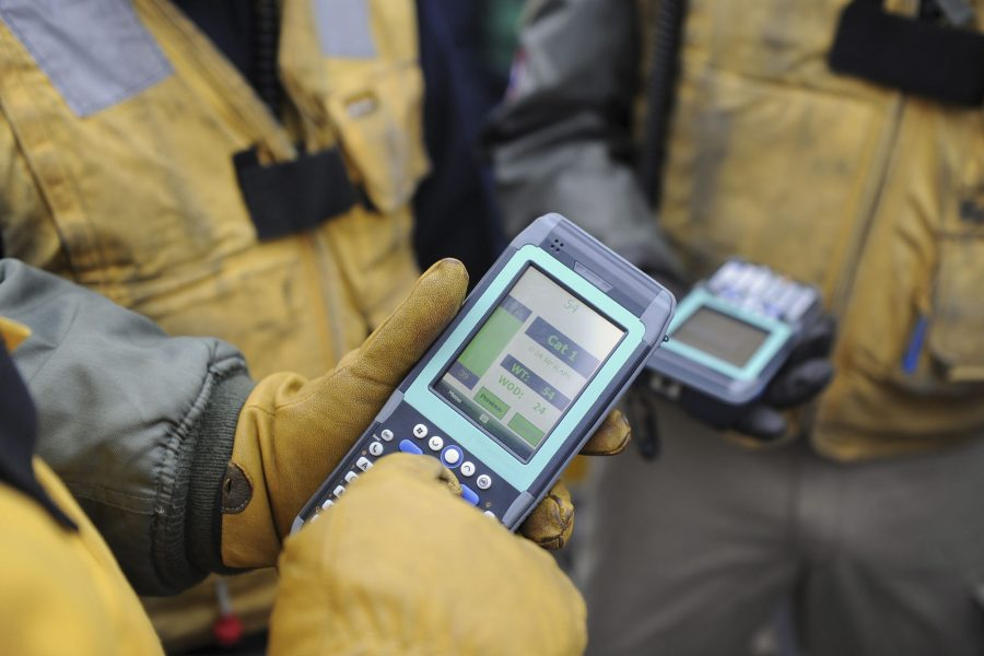 Hands of uniformed worker using handheld device