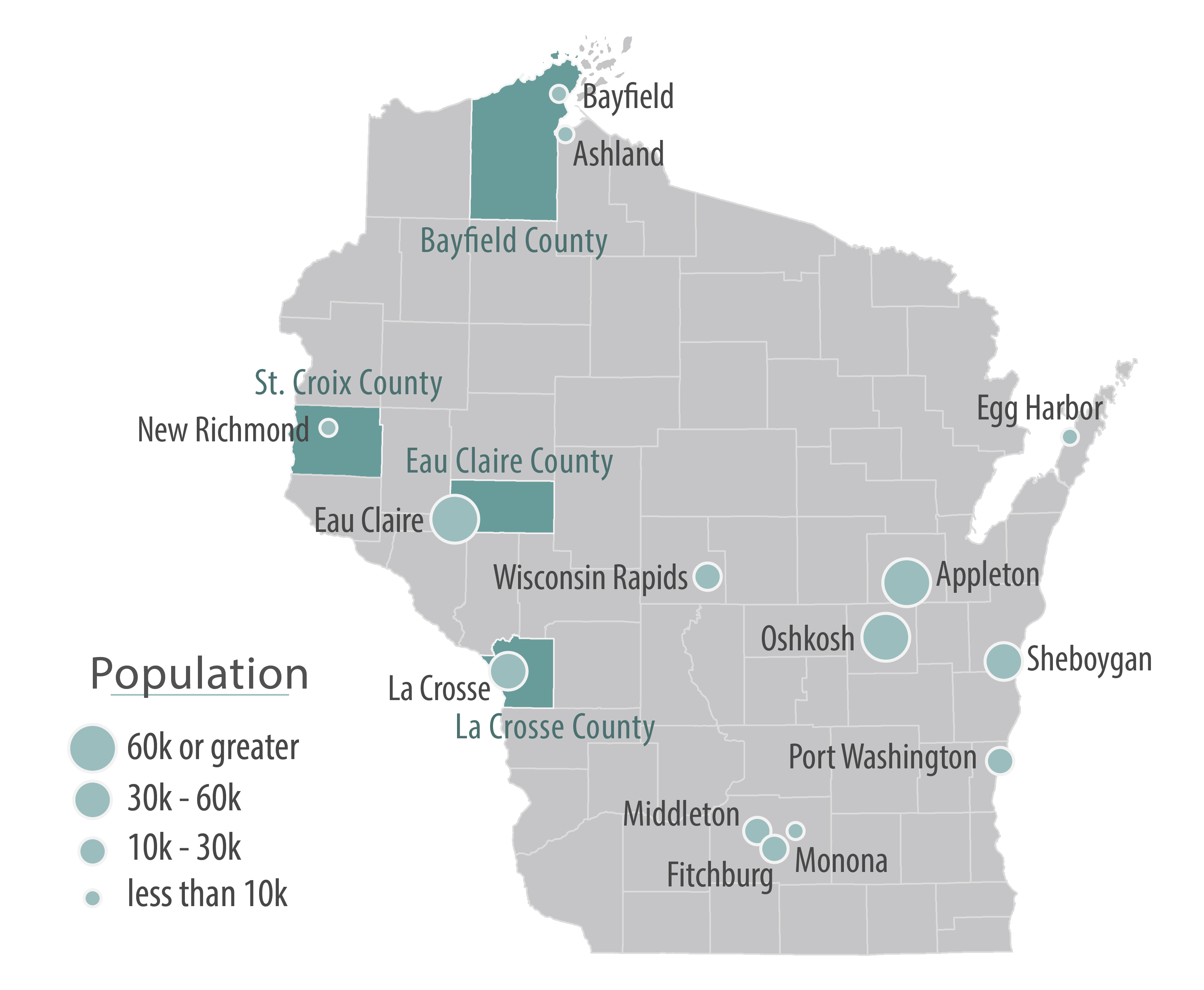 Cities and local counties involved in the Legacy Community Alliance for Health are highlighted on a map of Wisconsin