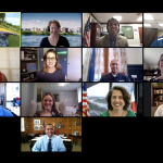 Zoom screenshot with New Mayors Cohort attendees, Mayors Innovation Project staff, and Pete Buttigieg