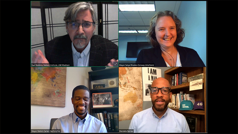 Mayors Satya Rhodes-Conway and Melvin Carter, Lieutenant Governor Mandela Barnes, and Dr. Paul Robbins during the online discussion about climate change